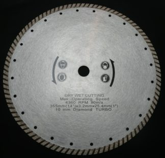 "Augerton 14"" (350mm) Turbo Diamond Tip Concrete Demoliton Saw Blade"
