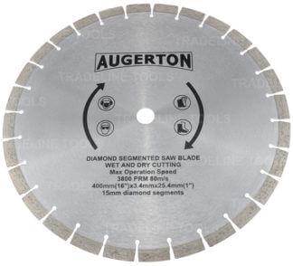 """Augerton 16"""" (400m) Segemented Diamond Tip Concrete Demoliton Saw Blade"""