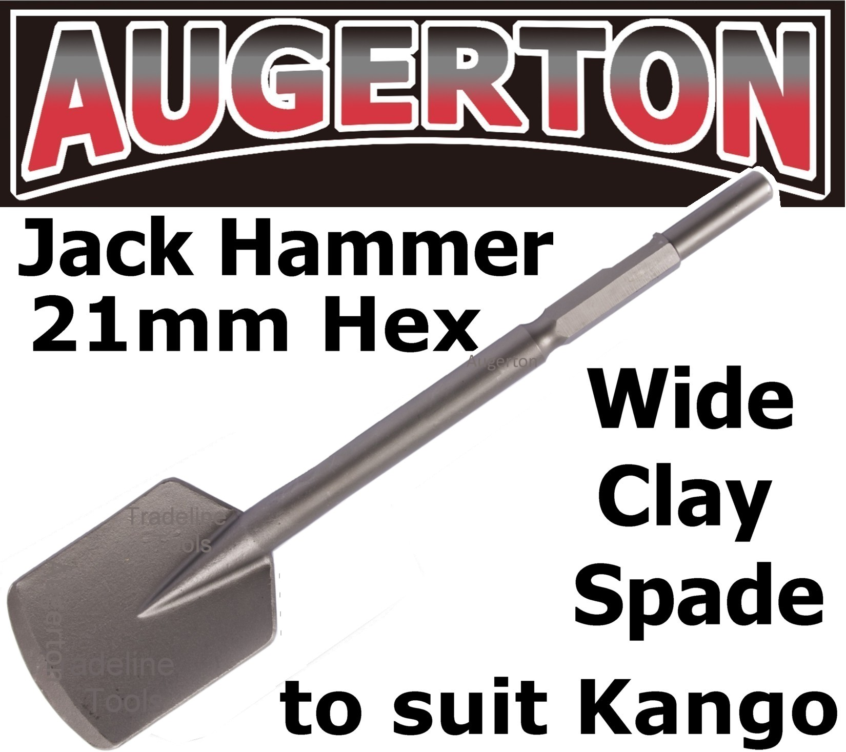 Augerton JACK HAMMER SQUARE MOUTH LONG SERIES CLAY SPADE CHISEL to suit  Kango 21mm Hex